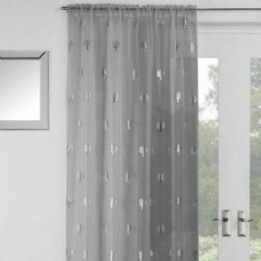 GLITTERY SILVER SHIMMER FOIL BIRCH TREES  THICK GREY VOILE NET CURTAIN PANEL/S